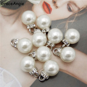 50pcs Elegant Imitation Pearl & Clear CZ Crown Pendant Charm fit Bracelet Jewelry spacer Loose Beads Jewelry Making