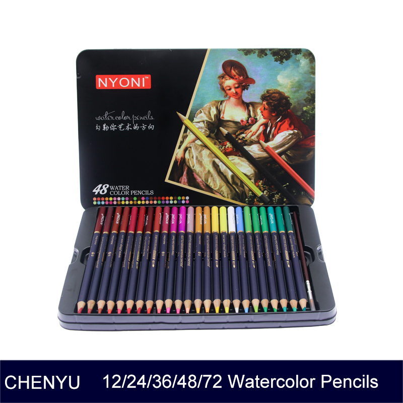 CHENYU 12/24/36/48/72 Watercolor Pencils Premium Soft Core Lapis De Cor Professional Soluble Color Pencil For Art School Supplie