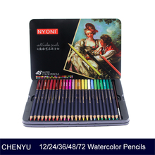 цена CHENYU 12/24/36/48/72 Watercolor Pencils Premium Soft Core lapis de cor Professional Soluble color Pencil for Art School Supplie онлайн в 2017 году
