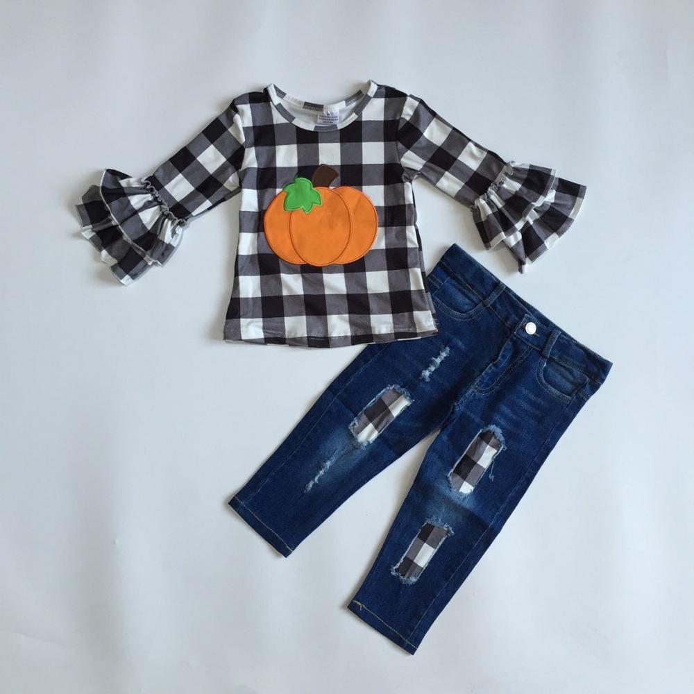 Fall/winter Halloween Thanksgiving Baby Girls Jeans Children Clothes Boutique Plaid Pumpkin Dark Blue Denims Pants Outfits Set