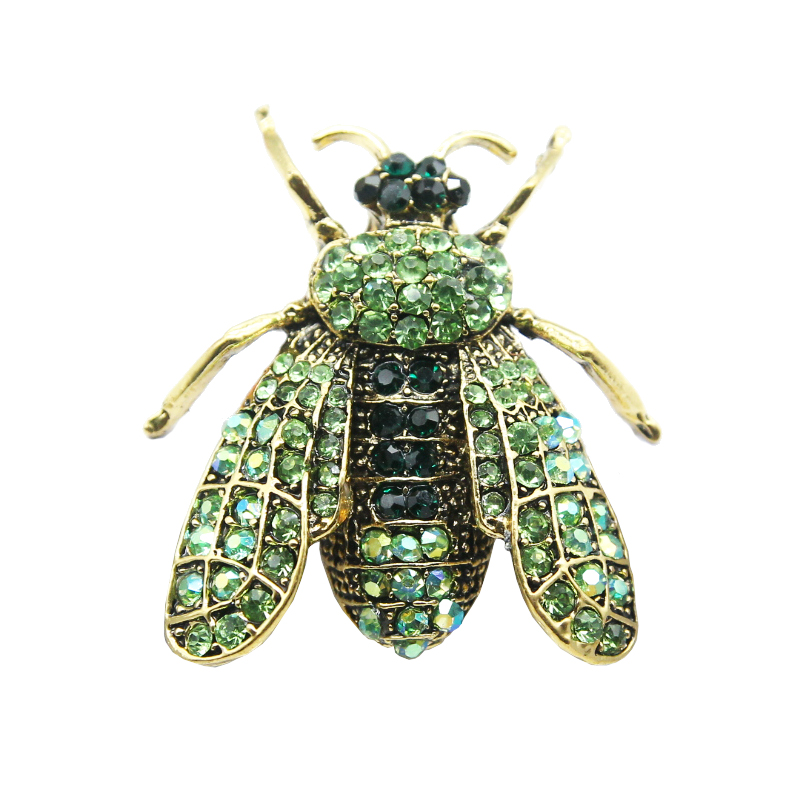 RHao Men Flying Insect Brooches Green Rhinestone Locust Animal Brooch For Women Punk Coat Jewelry Pins Hijab Pins Bags Badges