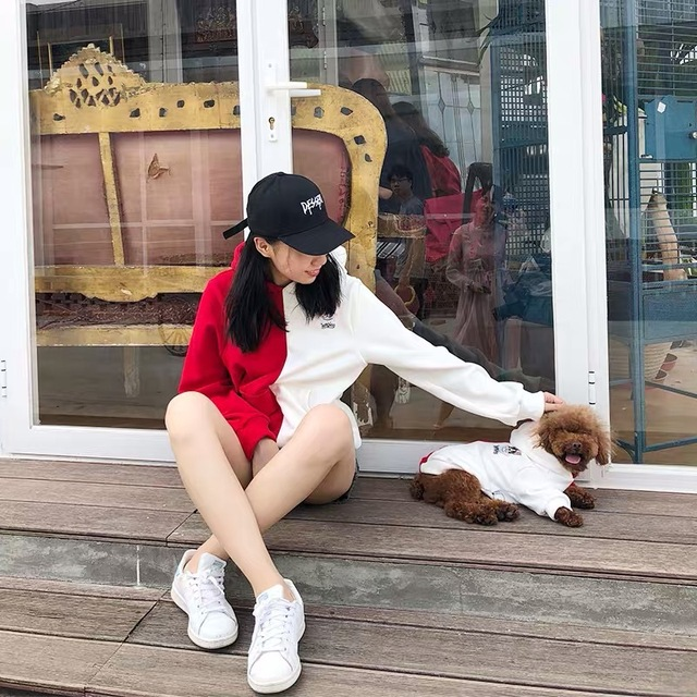 Fashion Parent-Child Outfit Dogs Clothes Pet Puppy Hoodie French Bulldog Pug Teddy Jacket Coat For Cat Keeping Warm Lace Hoodies 1