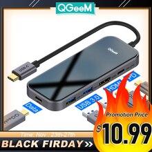 QGeeM chargeur USB type c 3,1, adaptateur pour Macbook Pro et iPad Pro multi hub USB 3,0, HDMI PD