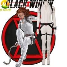 Black Widow Cosplay White Costume Natasha Romanoff White Suit Superhero Jumpsuit Halloween Costume for Women Custom Made ensemble stars judge black and white duel adoring past izumi sena sakuma ritsu cosplay costume custom made halloween christmas