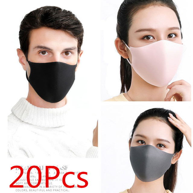 20Pcs Fashion Face Mouth Mask Anti Dust Mask Filter Windproof Mouth-muffle Bacteria Proof Flu Face Masks Care Reusable Washable