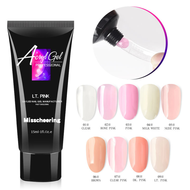 15ml Polygel Nail Acrylic Poly Gel Pink White UV LED Builder Gel Tips Enhancement Slip Solution Quick Extension Gel Polish Form