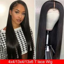 Парик Maxine из прямых человеческих волос на сетке спереди, T часть, на сетке спереди, прямой фронтальный парик для женщин, 150% парики из человеческих волос спереди на сетке
