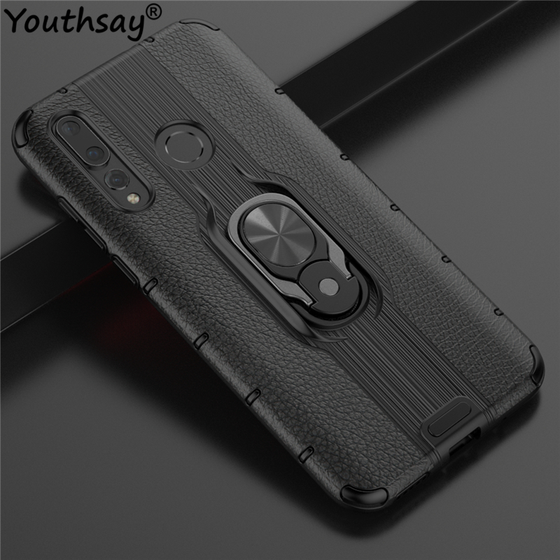 For Huawei Nova 4 Case TPU+PC Phone Finger Holder Anti-knock Back Cover Funda Youthsay