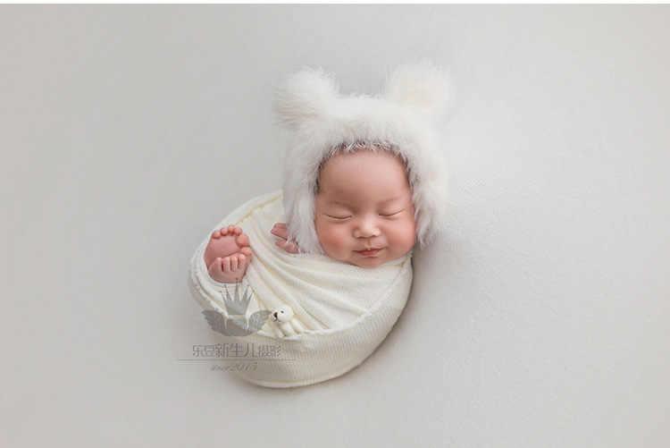Rekwizyty fotograficzne dla dzieci noworodka fotografia kapelusz lalka miś czapeczka niemowlęca akcesoria fotograficzne (1pc czapka dla niemowląt i 1pc lalka miś)