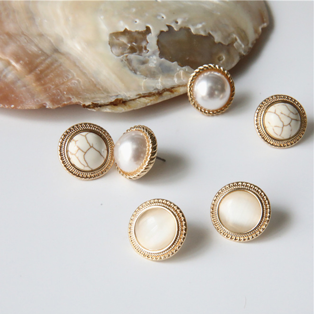 New Vintage Round Marble Opal Stone Big Stud Earrings Women Fashion Temperament Gold Ear Stud Circle Pearls Stone Jewelry(China)