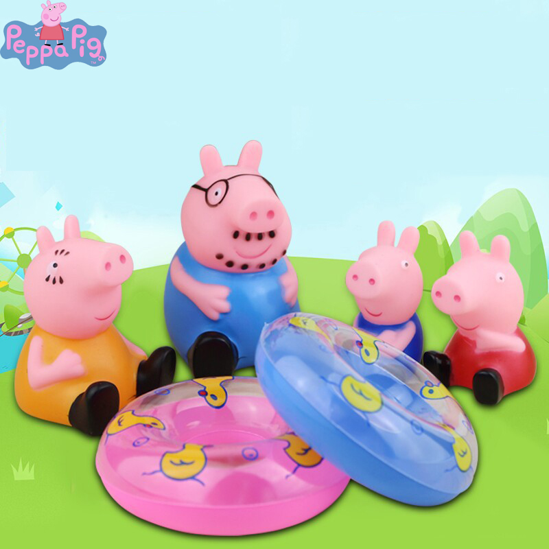 Peppa Pig Baby Anime Figure Bathing Water Bath Toy Pinch Action Figure Pinch Gelatin Small Animal Toys For Children 2P24