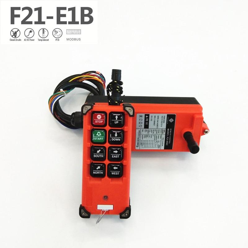 Industrial Wireless F21 E1b Radio Single Speed 8 Buttons F21-E1B Remote Control (1 Transmitter+1 Receiver) For Crane F21-e1b-8