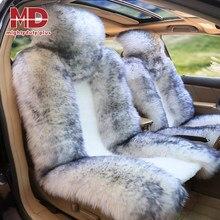 1 pc frente capa de assento do carro lã pele carneiro inverno almofada do carro quente macio respirável universal pelúcia peludo macio almofada do assento