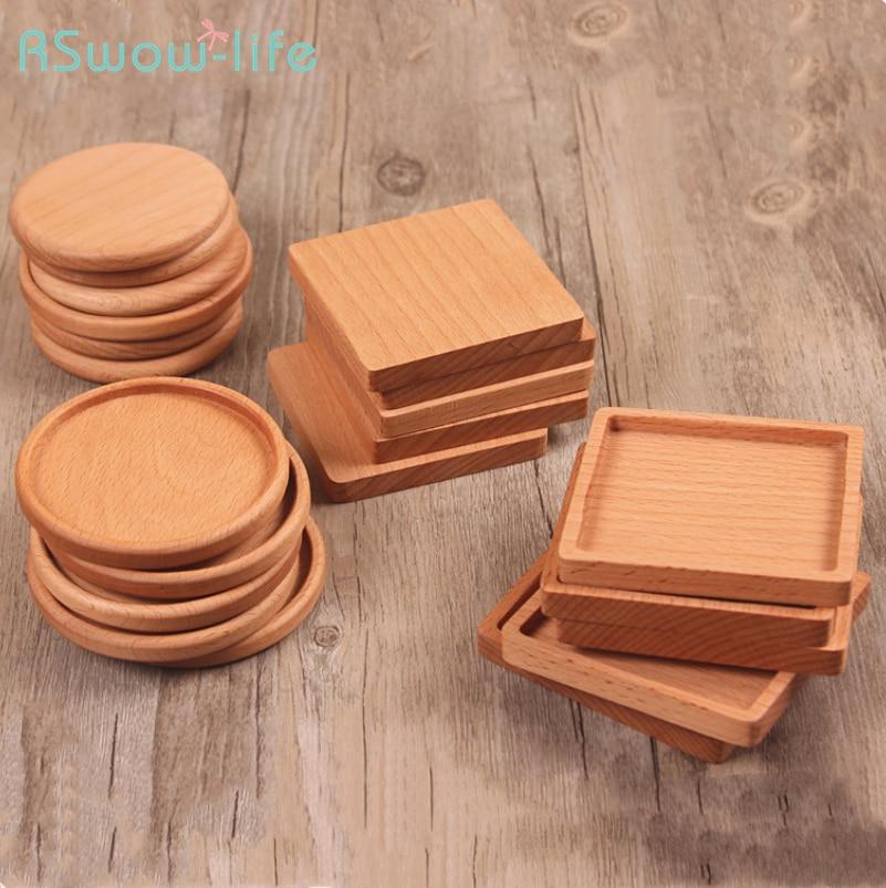 1PCS Creative Japanese Burlywood Beech Wood Tea Coffee Water Cup Pad Heat Insulation Square Round Coasters Houseware Supplies