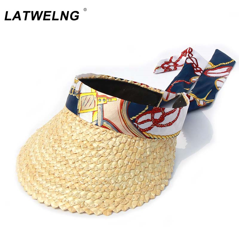 New Design Big Bow Beach Hats For Women Fashion Scarf Ribbon Sun Caps Female Summer Straw Visor Hat Empty Top Caps Wholesale
