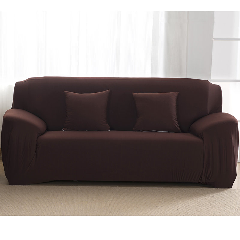 Plain Solid Pattern Couch Covers for Sectional and Cornered Sofa in Living Room with elastic Band and Strap 2