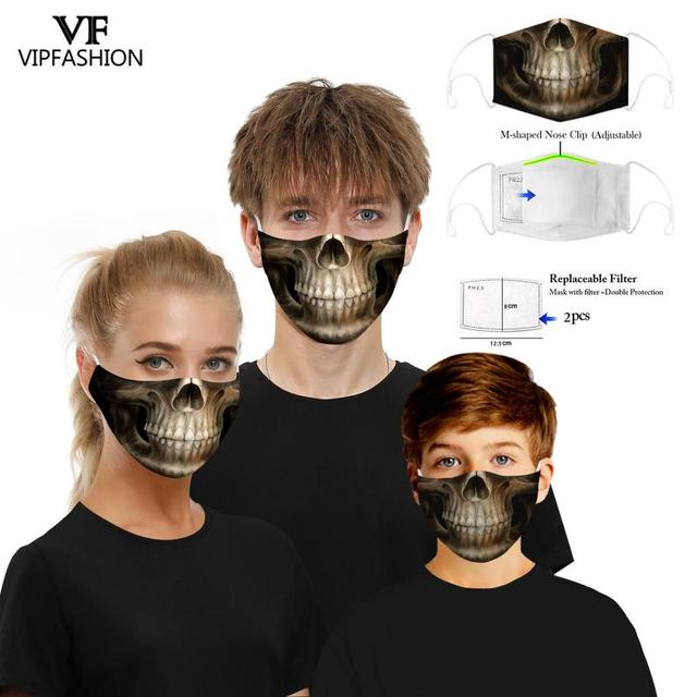 VIP FASHION New Funny Adult Kids 3D Grimace Ghost Printed Face Masks Cotton Mouth Mask Clothing Accessories For Party 5