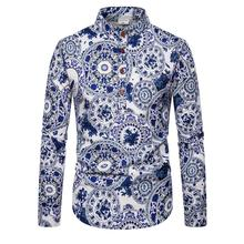 Linen Shirts Men Stand collar Unique button design Long sleeves Floral Shirt for Men's clothes Casual Blouse Men stand collar fashion leaves printed vintage button design shirts for men