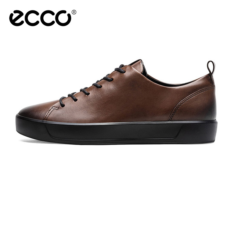 2019 New Ecco Top Brand  Flat Shoes Men Leather Comfortable Casual Brown Shoes New Spring