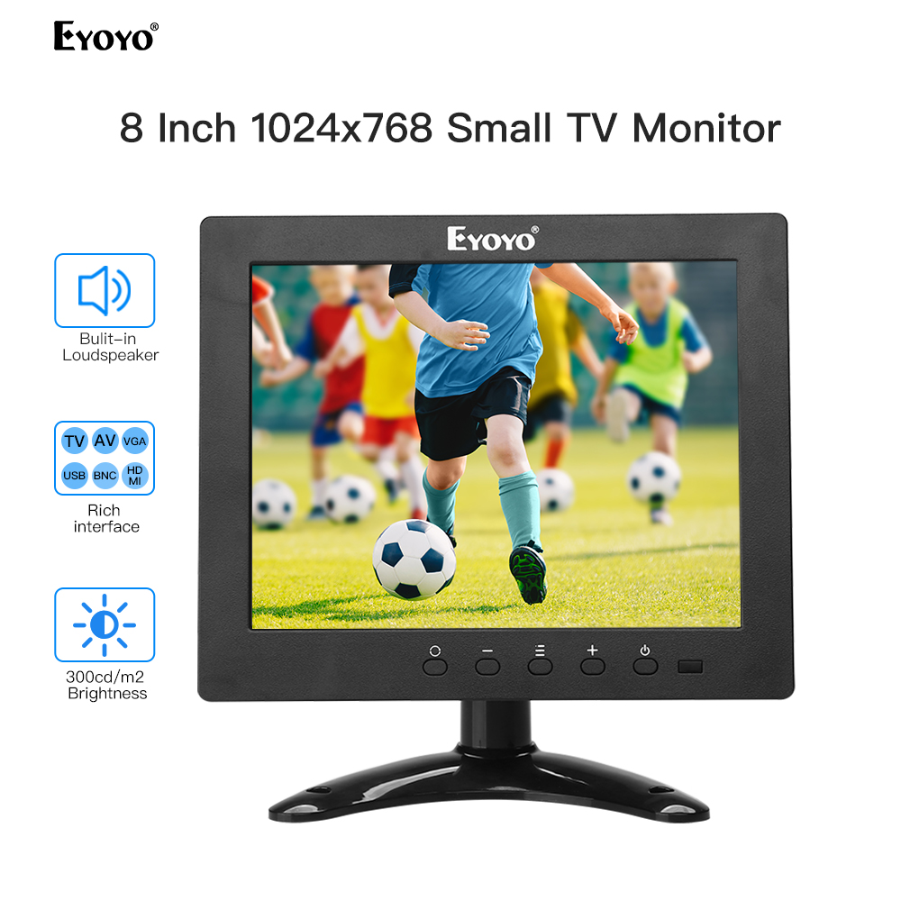 Eyoyo EM08E 8 Inch HDMI Small TV Monitor 1024x768 LCD IPS Screen Compatible DVD PC CCTV Security Monitor Camera Raspberry Pi