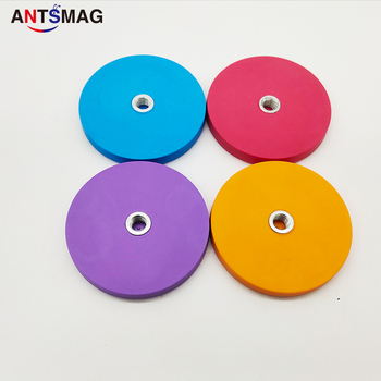 4 pcs D43, D66, D88mm Rubber Coated Neodymium Pot Magnet with Internal Thread for Multiple Using color is red,Orange,purple,blue