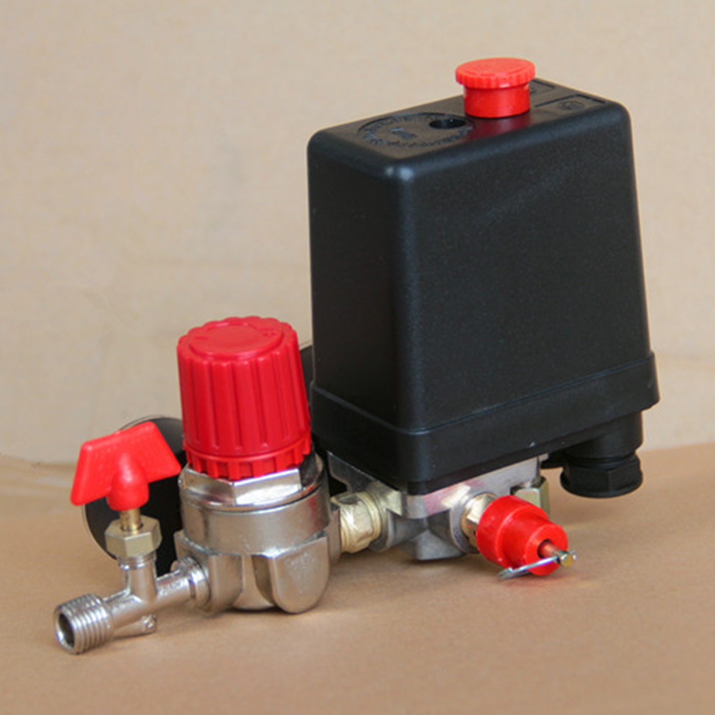 Image 4 - 90 120PSI Heavy Duty Practical Air Compressor Motor Driven With Gauges Exhaust Pressure Control Switch 4 Port Pump Accessories-in Pneumatic Parts from Home Improvement