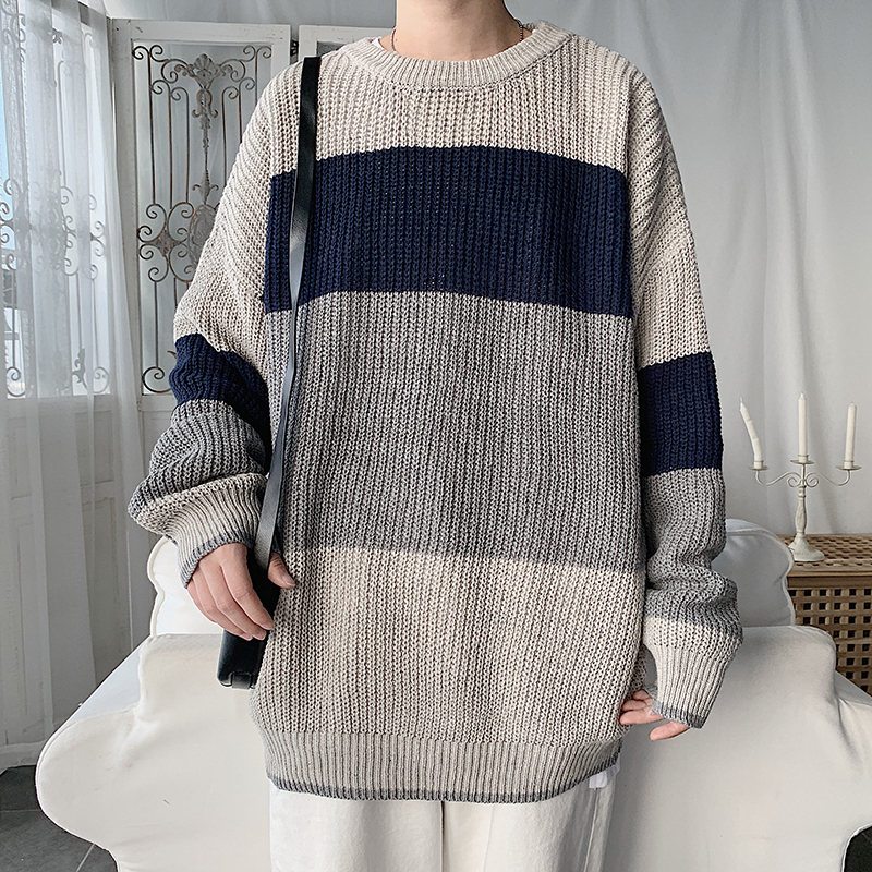 O-neck Sweater Men's Warm Fashion Contrast Color Casual Knit Pullover Men Streetwear Loose Knitting Sweaters Male Sweter Clothes