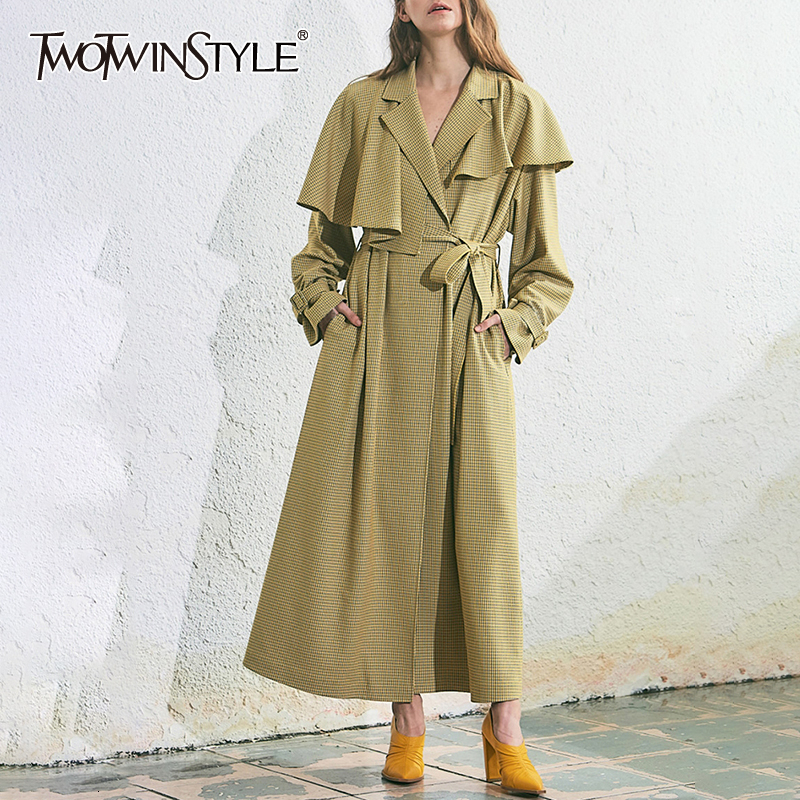 TWOTWINSTYLE Bow Women's Windbreaker Notched Long Sleeve High Waist Lace Up Trench Coats Female 2020 Autumn Winter Fashion New