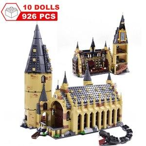 Image 2 - Movie Harri Pottered Hogwarte Castle Express Train Magic House Building Block  Bricks Toy for Children
