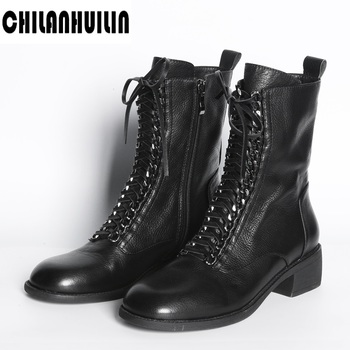 punk chains lace up women ankle boots thick heels creepers riding boots autumn winter botas mujer platform leather rubber boots autumn winter ankle boots women platform boots lace up black white leather rubber boots woman shoes comfortable women s boots