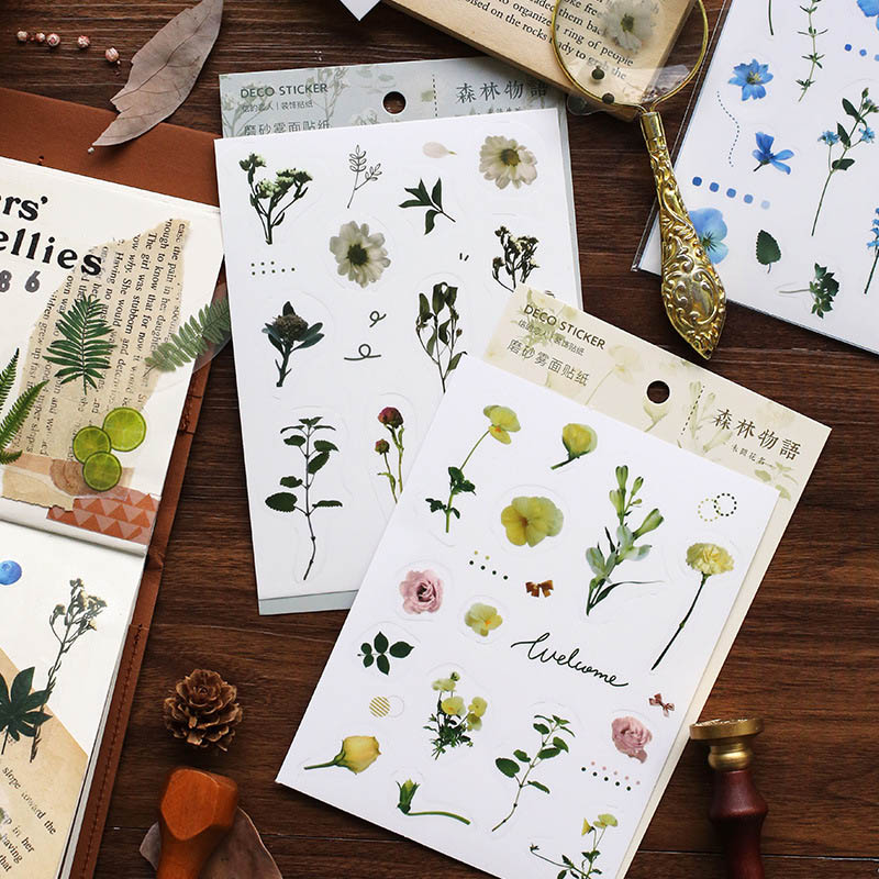 1Sheet Kawaii Plant Stickers Cute Decor Stationery Stickers Paper Adhesive Sticker For Kids Scrapbooking Diary Supplies