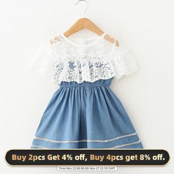 Bear Leader Girls Dresses Embroidered Kids Princess Dress Stitching Denim Clothes Pattern Toddler Children Suit