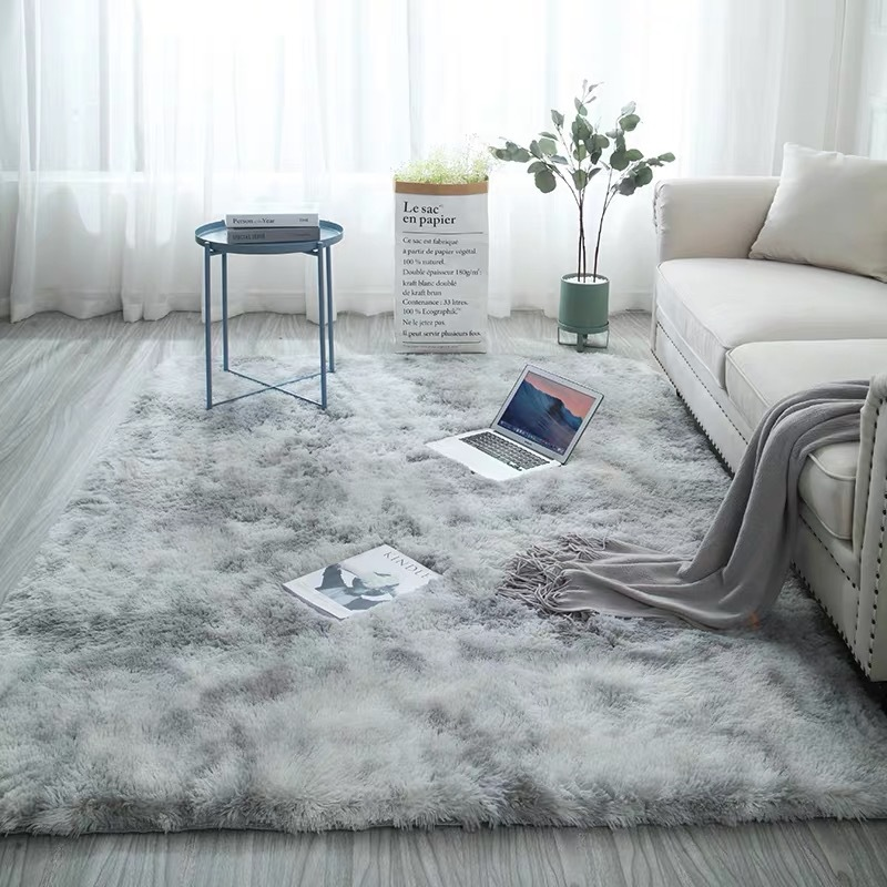 European Long Hair Bedroom Carpet Bay Window Bedside Mat Washable Blanket Gradient Color Living Room Rug Gray Blue