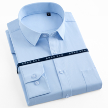 Dress-Shirt Pocket Business-Work Classic Office Standard-Fit Formal Men's Plus-Size Long-Sleeve