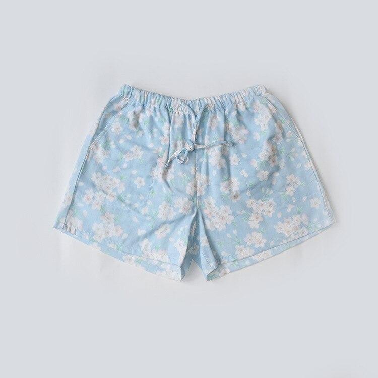 Летние женские Пижамные шорты, хлопковые газовые пижамы, штаны с принтом, штаны для сна, одежда для сна, женская одежда для сна - Цвет: Cherry Blue