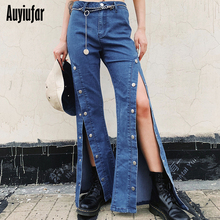 цены Auyiufar Sexy Side Slit Flare Pants High Waist Women Casual Fashion Solid Wide Leg Pants 2019 Streetwear Loose Femme Pants New