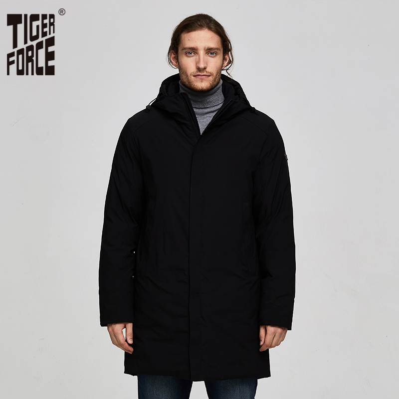 TIGER FORCE Winter Men Jacket Long Padded Jacket Men Solid Parka Drawstring Hooded Warm Coat Casual Thickening Overcoat-in Parkas from Men's Clothing    1