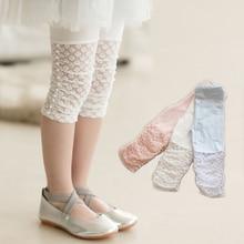 High Quality 2021 New Summer Girls Leggings Pants Lace Cotton Children Clothing Flower Girl Knee Pants