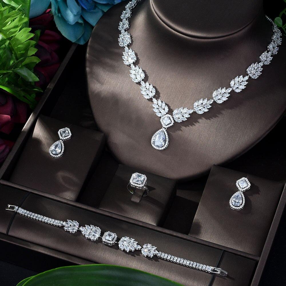 HIBRIDE Luxury Zircon Wedding Jewelry Sets for Brides Latest Women Copper Earrings Fashion Jewelry Set Bijoux Femme N-923