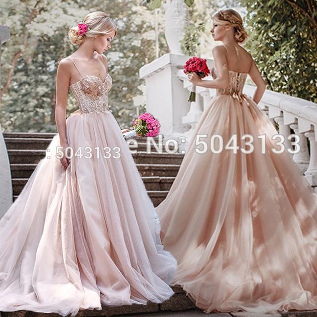 Spaghetti Straps Blush Pink Tulle Wedding Dresses 2021 Sequin Lace Sleeveless Bridal Gowns Off Shoulder Vestidos de Noiva 1