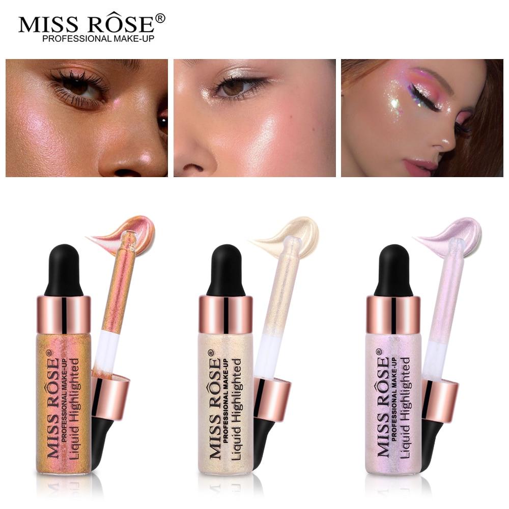 Miss Rose Liquid Highlighter Make Up Highlight Concealer Shimmer Brighten Shine Face Glow Kit Illuminating Cosmetics 6g