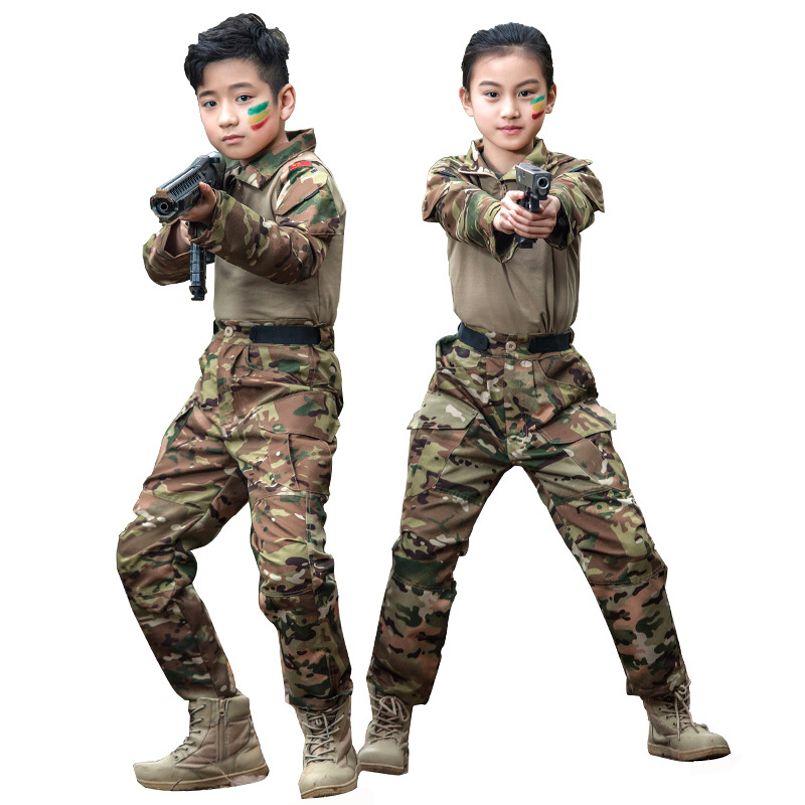 Kids Military Tactical Uniforms Children Training Suit Summer Camp Camouflage Equipment Boys Girls Pants And Shirts Sets
