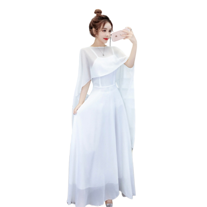 2019 Goddess Twinset Summer Wear Camisole Sexy Maxi Black White Dress Elegant Women Cloak Scarf Suit Vintage Harajuku Dresses