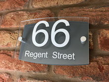Customize House Number Sign / Plaque. Modern Contemporary Grey & Clear Acrylic Curve