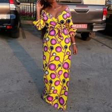African Yellow Geometric Print Women Long Dress Elegant V Neck Belted Prom Party Dresses 2020 Spring Summer Beach Maxi Vestiods stylish argyle printed long sleeve belted maxi dress for women