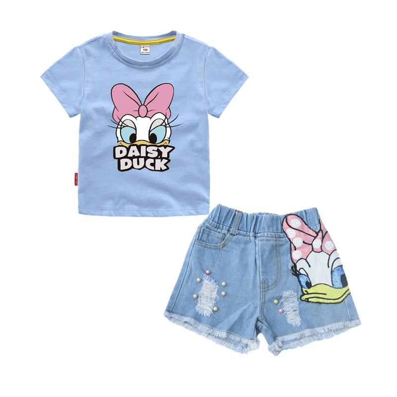 Girls Outfits Clothes Sets Children Cartoon Duck Summer T Shirt Sequins Broken Hole Denim Shorts Suit Baby Girls Clothing Set 5