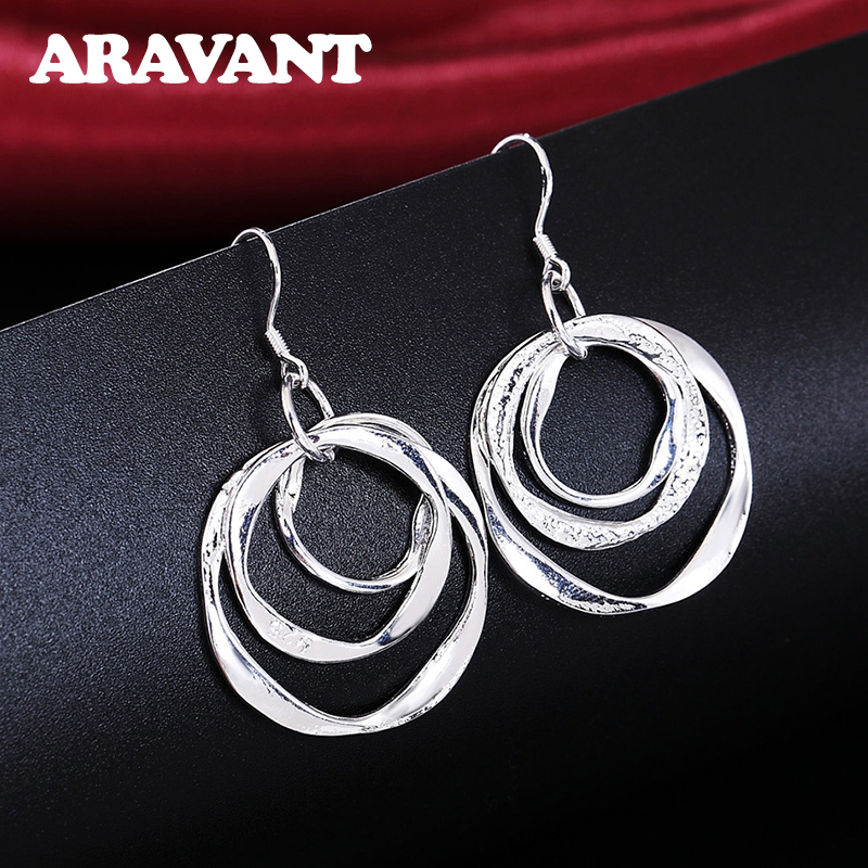 2020 New Arrival 925 Silver Jewelry Drop Earring Women Vintage Three Circle Earrings