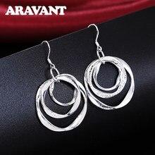 2020 nueva llegada 925 joyería de plata gota pendiente mujeres Vintage tres círculos pendientes