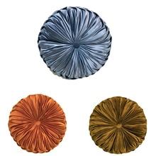 velvet cushion round Pillow European Luxury Velvet Throw Cushion Round Fabric Handmade Pleated Wheel Pumpkin Seat