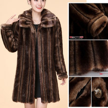 Women's autumn and winter mink mink coat, new style lapel mid-length elegant and fashionable fur coat